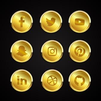 Colección de iconos de redes sociales de oro