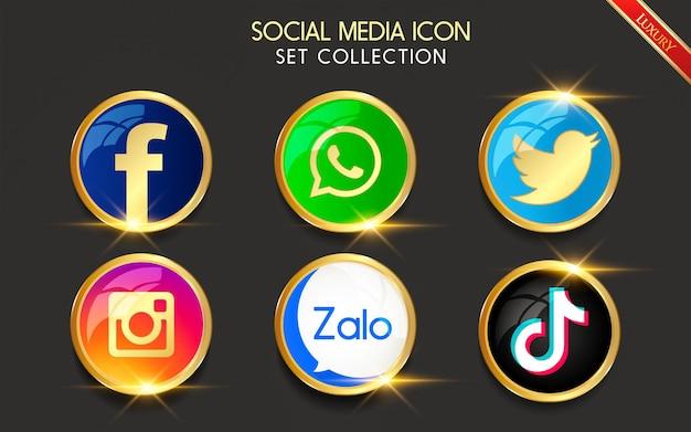 Colección de iconos de redes sociales populares