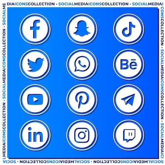 Colección de iconos de redes sociales sobre superficie azul degradada