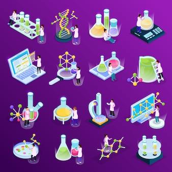 Colección con iconos de resplandor isométrico de investigación científica con líquidos coloridos en tubos de vidrio, computadoras y moléculas