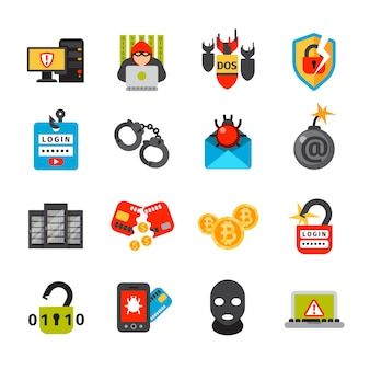 Colección de iconos de seguridad en internet