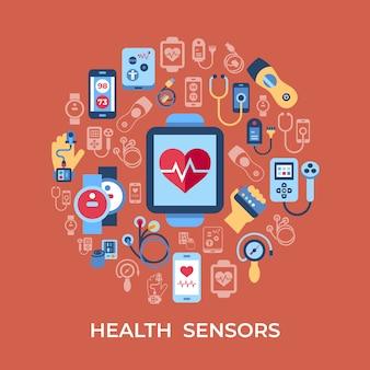 Colección de iconos de sensores de salud