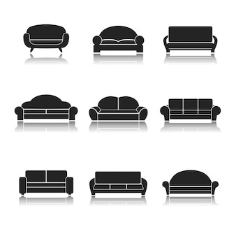 Colección de iconos de sofás