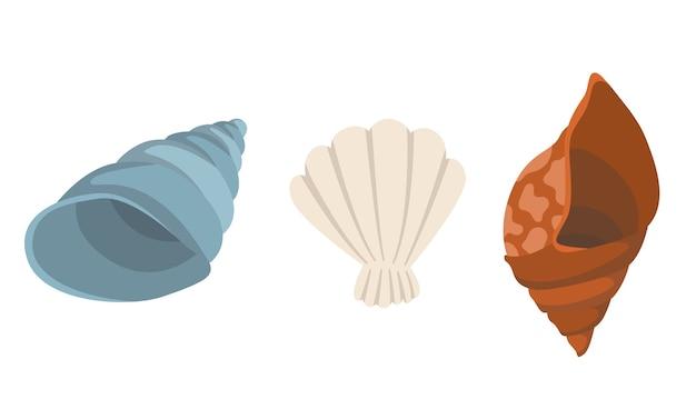 Colección de iconos submarinos coloridos conchas de mar tropical. marina establece lindas pegatinas sobre fondo blanco.