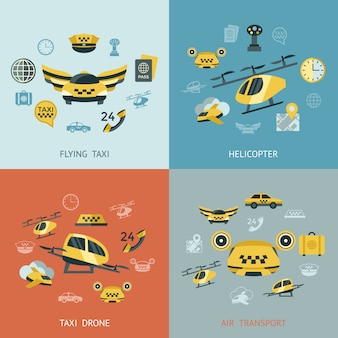 Colección de iconos de taxi volador