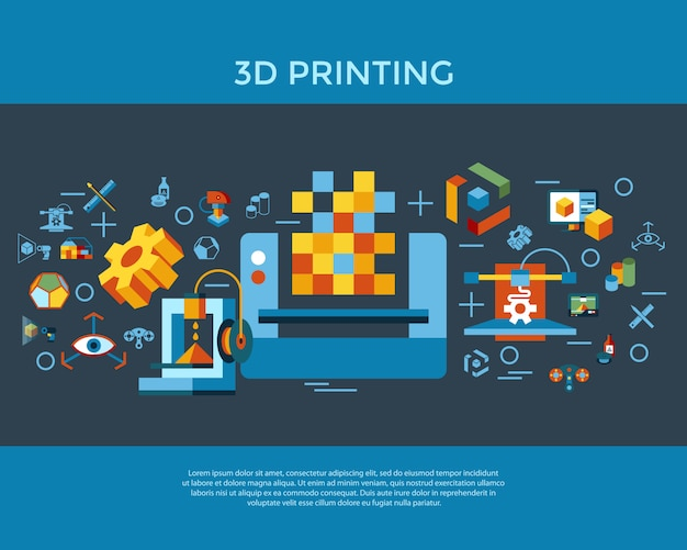 Colección de iconos de tecnología de impresión 3d