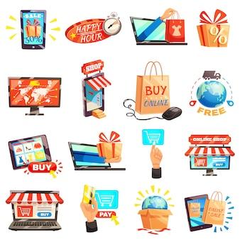 Colección de iconos de la tienda en línea