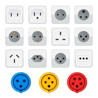 Colección de iconos de tipos de toma de corriente industrial doméstica de estilo plano