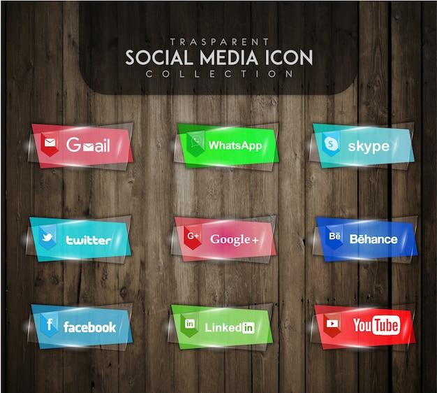 Colección de iconos transparentes de redes sociales