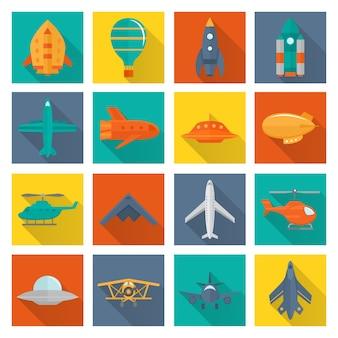 Colección de iconos de transporte aéreo