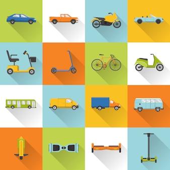 Colección de iconos de transporte en estilo plano
