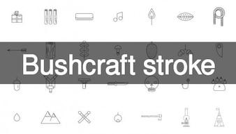 Colección de iconos de trazo bushcraft