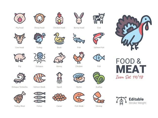 Colección de iconos de vector de comida y carne