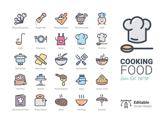 Colección de iconos de vector de comida de cocina