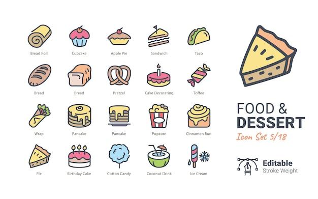 Colección de iconos de vector de comida y postre