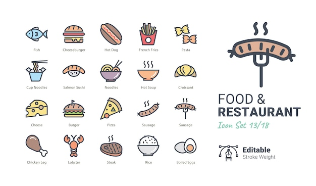 Colección de iconos de vector de comida y restaurante