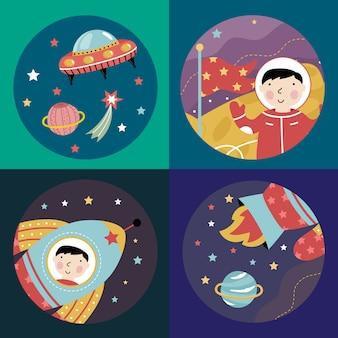 Colección de iconos de vector de dibujos animados de espacio
