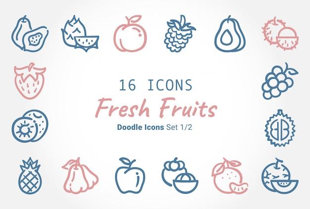 Colección de iconos de vector de frutas frescas doodle