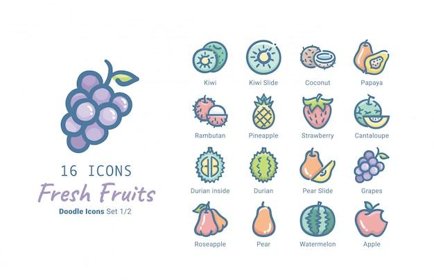 Colección de iconos de vector de frutas frescas