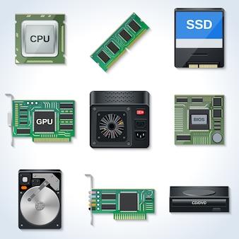 Colección de iconos de vector de hardware de computadora