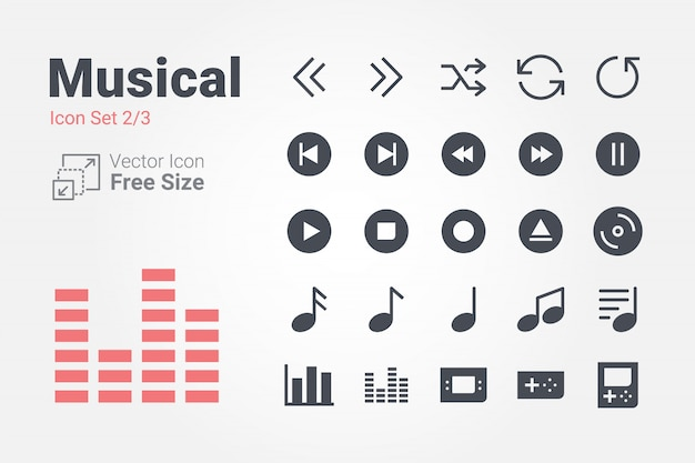 Colección de iconos de vector musical con estilo sólido