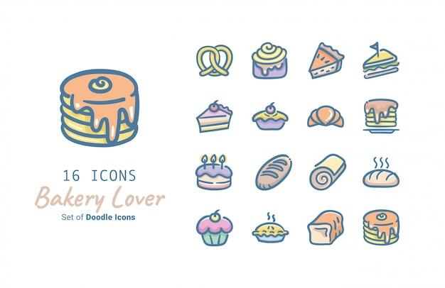 Colección de iconos de vector de panadería amante