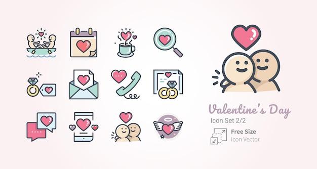 Colección de iconos de vector de san valentín
