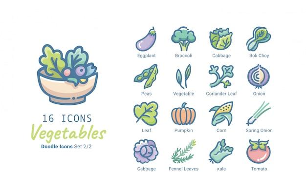 Colección de iconos de vector de verduras