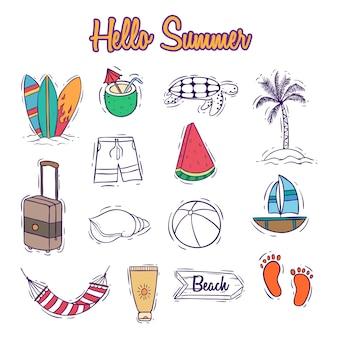 Colección de iconos de verano colorido con estilo doodle o dibujado a mano