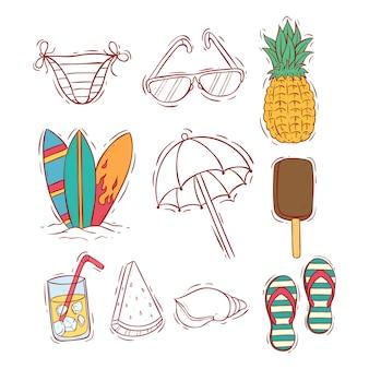 Colección de iconos de verano doodle color