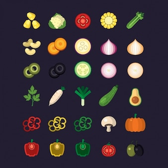 Colección de iconos de verduras