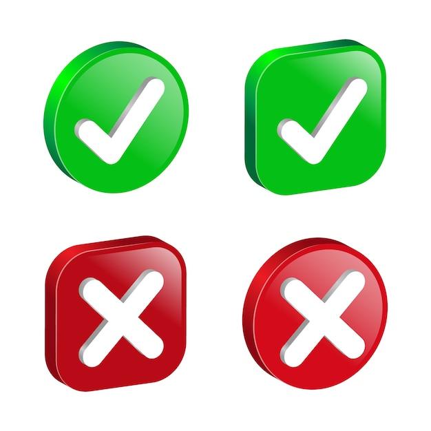 Colección de iconos de verificación de confirmación y cancelación. gradiente de marcas 3d verdes y rojas.