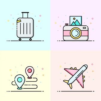 Colección de iconos de viaje en color pastel.