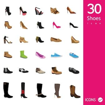 Colección de iconos de zapatos
