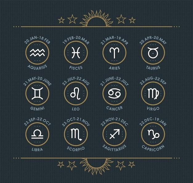 Colección de iconos del zodiaco. conjunto de símbolos sagrados. elementos de estilo vintage de horóscopo y astrología. signos de línea delgada sobre fondo punteado oscuro. colección.