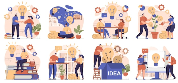 Colección de ideas de negocios de escenas aisladas personas intercambiando ideas generando ideas e innovaciones