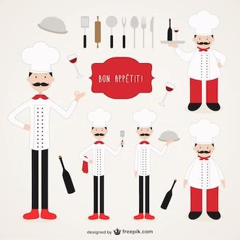 Colección de ilsutraciones de chefs