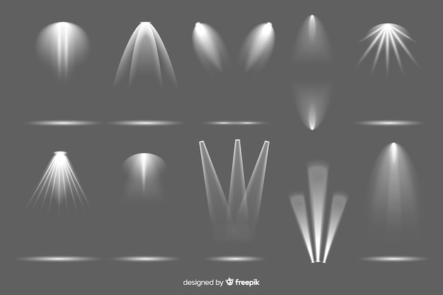 Colección de iluminación de foco realista.