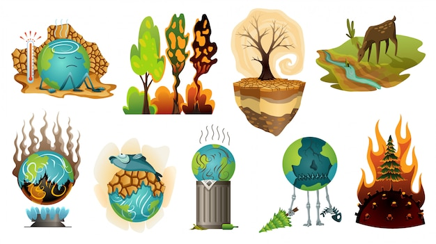 Colección de ilustración de calentamiento global de la tierra. advertencia ecología carteles. iconos de concepto global planeta sequía. malos personajes del globo terráqueo de dibujos animados
