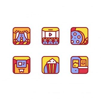 Colección de ilustración de cine cine icono vector aislado