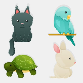 Colección de ilustración de concepto de diferentes mascotas