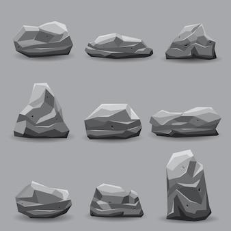 Colección de ilustración de conjunto de piedra de roca.