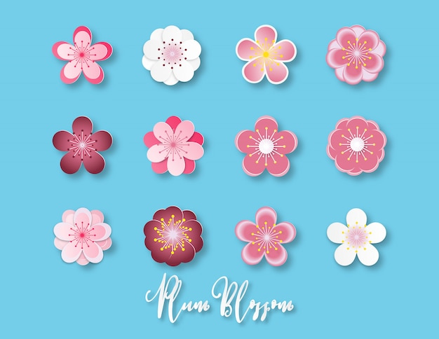 Colección de ilustración creativa de estilo de corte de papel de flor de ciruelo