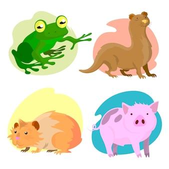 Colección de ilustración de diferentes mascotas de diseño plano
