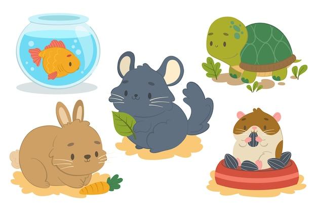 Colección de ilustración de diferentes mascotas