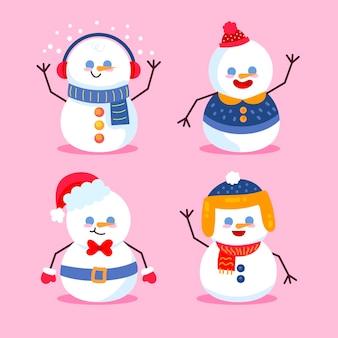 Colección de ilustración de diseño plano de personaje de muñeco de nieve