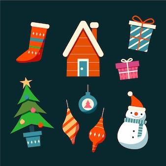 Colección de ilustración de elemento de navidad dibujada a mano