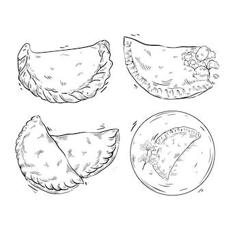 Colección de ilustración de empanada dibujada a mano