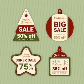 Colección de ilustración de etiqueta de venta de navidad de diseño plano vector gratuito