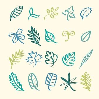 Colección de ilustración de garabatos de hoja